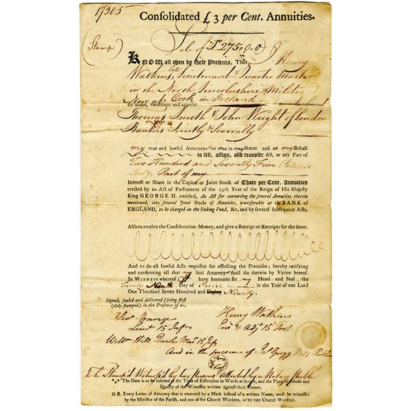Consolidated 3% Annuities Document, 1790 Power of Attorney