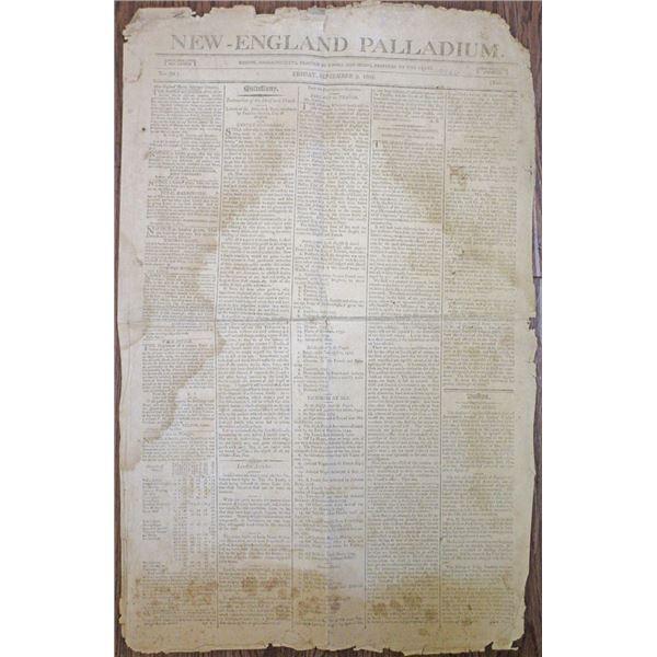 New-England Palladium, 1803 Issued Newspaper