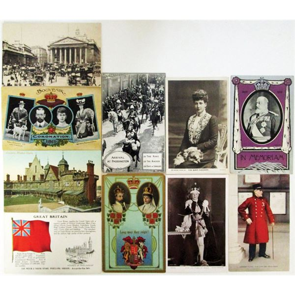 United Kingdom Postcards, Letterheads, Mainly of Royalty Assortment,  ca. 1900-1990s