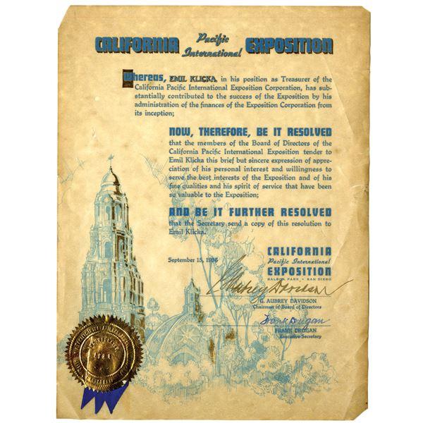California Pacific International Exposition 1936 Certificate of Appreciation