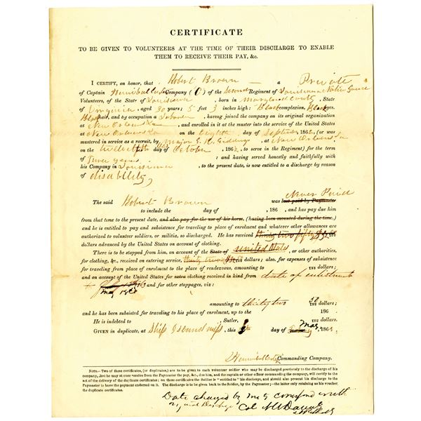 Civil War Union Army Discharge Certificate for Robert Brown, a Black Private in the 2nd Louisiana Na
