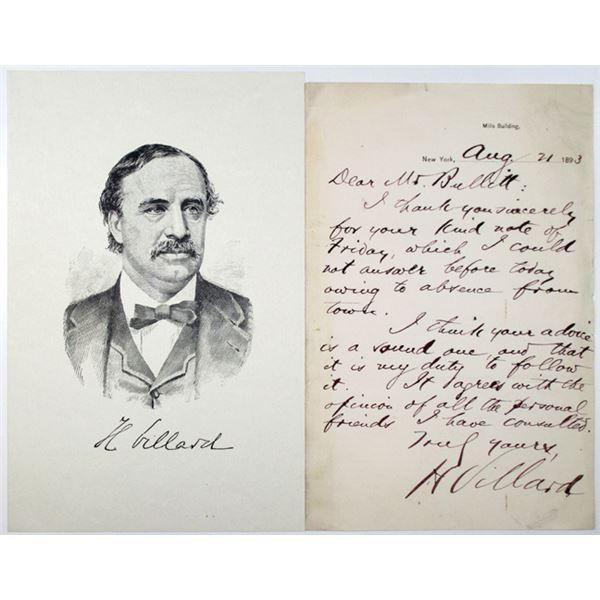 Henry Villard 1893 Letter with Autograph & Portrait
