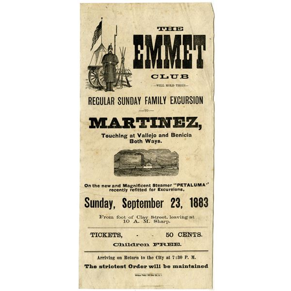 Emmet Club, 1883 Advertising Broadside for a Sunday Family Excursion to Martinez, California