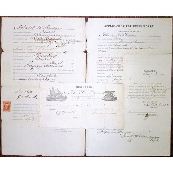 Civil War 1862-63 Application for Prize Money for Ship Captures and Naval Discharge Papers