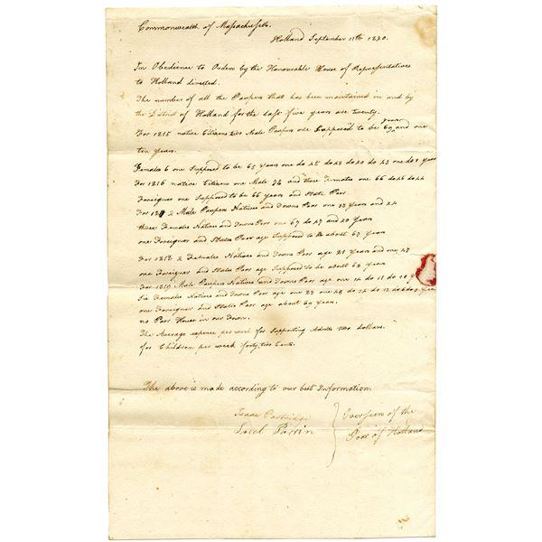 Handwritten Letter to Alden Bradford, 1820 Regarding the Poor of Holland, Massachusetts