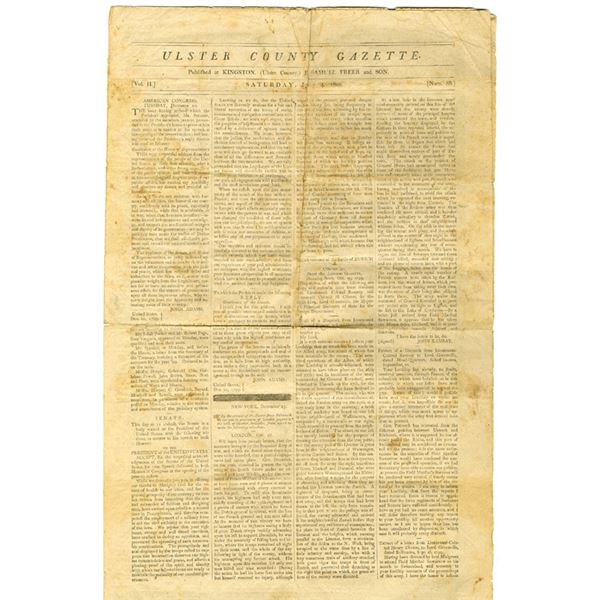 Ulster County Gazette, 1800 Newspaper Reproduction, possibly ca.1825-1850.