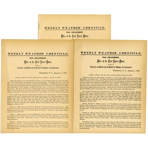 U.S. War Department, Weekly Weather Chronicle, 1879 General Summary Trio