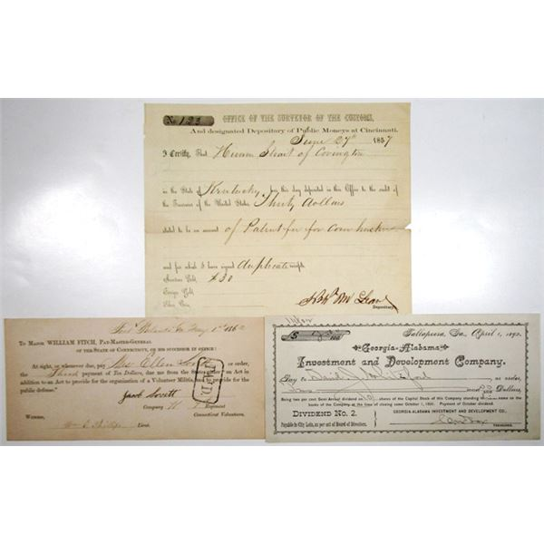Patent Payment, Dividend Payment, and Connecticut Pay-Master-General Trio, 1857-92