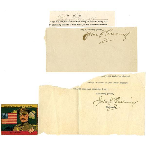 John J. Pershing Signature Pair, Generals & Their Flags Pershing Trading Card & Eddie Rickenbacker S