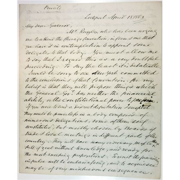Historic 1863 Handwritten Letter from Washington Hunt to New York Governor Horatio Seymour Discussin