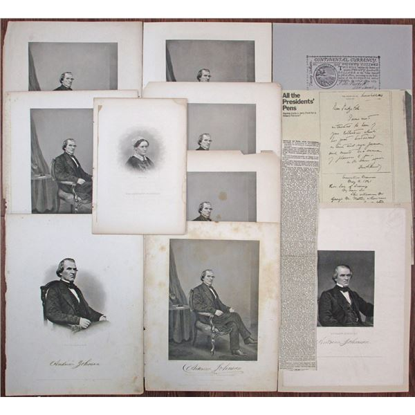 Andrew Johnson Engraved Portrait Print Group Lot, ca.1860's