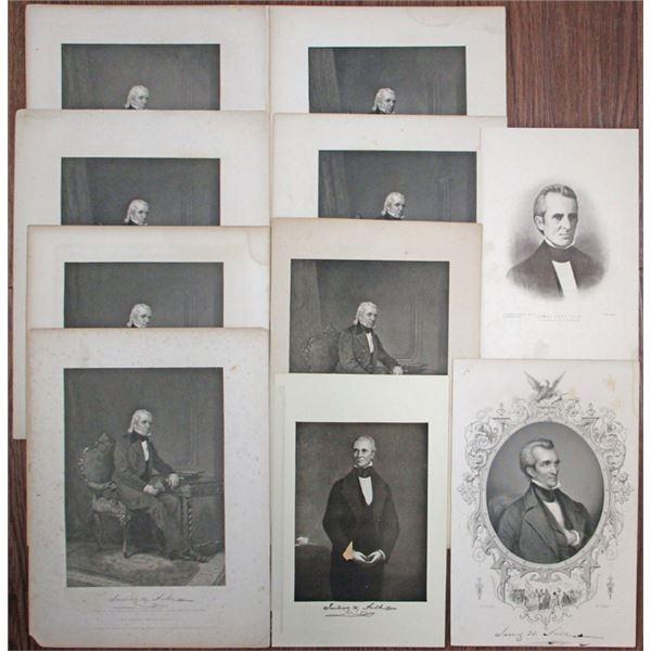 James K. Polk Vintage Portrait Group Lot, ca.1860-1920's.