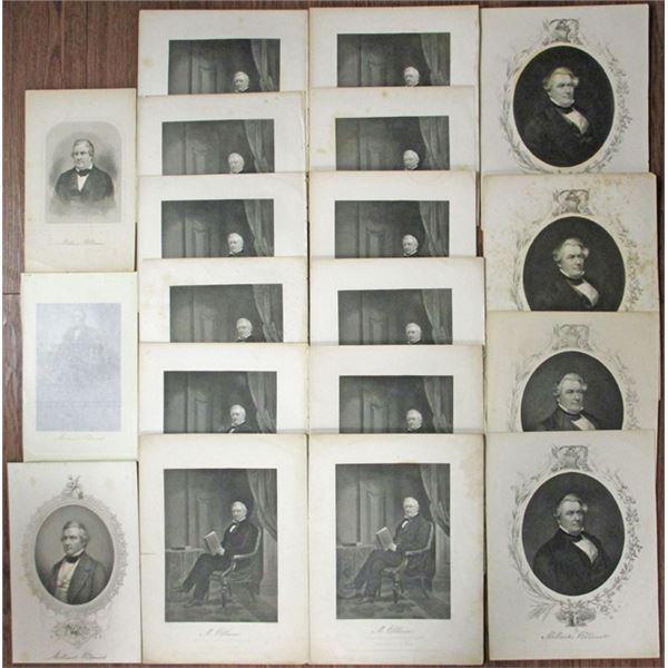 Millard Fillmore Engraved Portrait Print Group Lot, ca.1859 to 1862