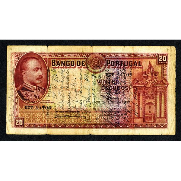 Short Snorter Banknote with Lee Davenport and Other Travelers, 1943