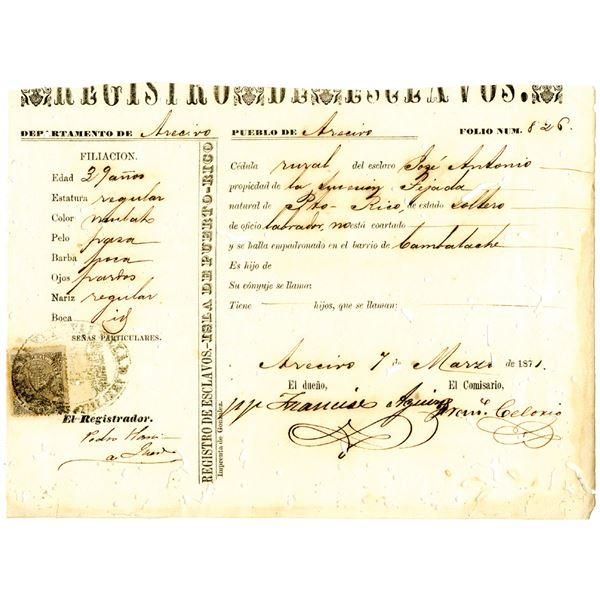 Puerto Rico, 1871 Slave Registration with Revenue Stamp