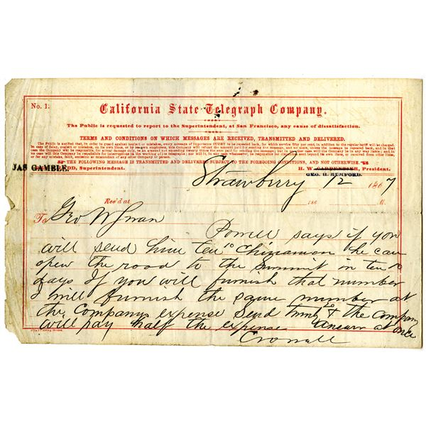 """California State Telegraph Co. 1867 Issued Message Discussing Sending 10 """"Chinamen"""" To Help Open the"""