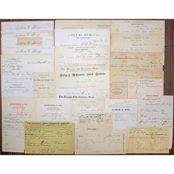 Early San Francisco and Nevada Ephemera and Purchase Order Assortment, ca.1870s-90s