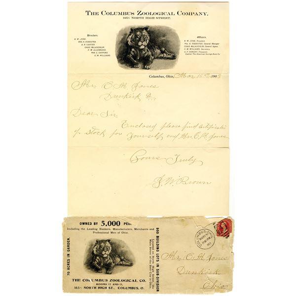 Columbus Zoological Co. 1903 Used Letterhead & Cover