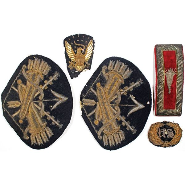 United States Vintage Military Patches and Pin Quintet, Possibly ca.WW I to WW II era.