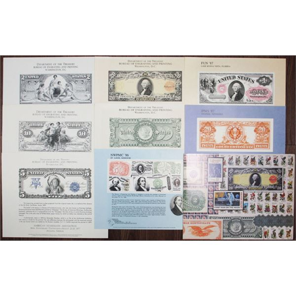 Bureau of Engraving and Printing, Large Group of Souvenir Cards, 1970-2000s
