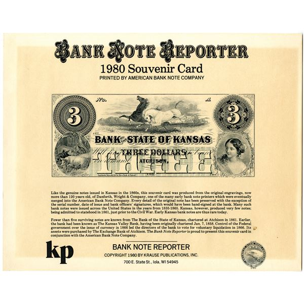 Bank Note Reporter, 1980 Souvenir Card by ABNC with Kansas Obsolete Banknote.