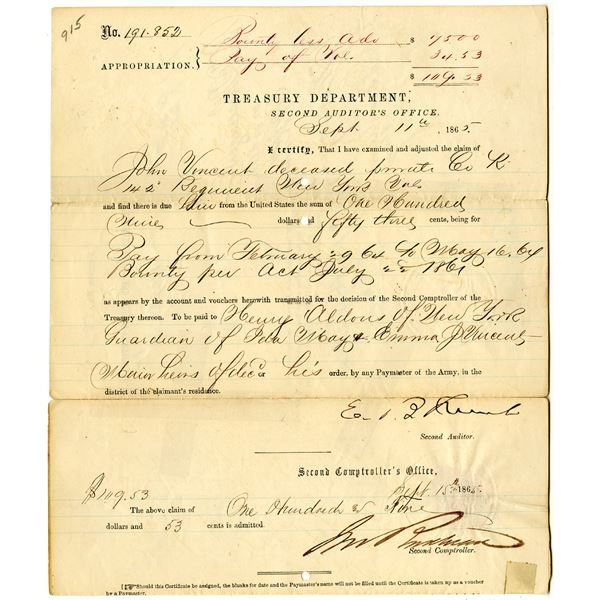 Treasury Department, Second Auditor's Office, 1865 Pay and Bounty Certificate