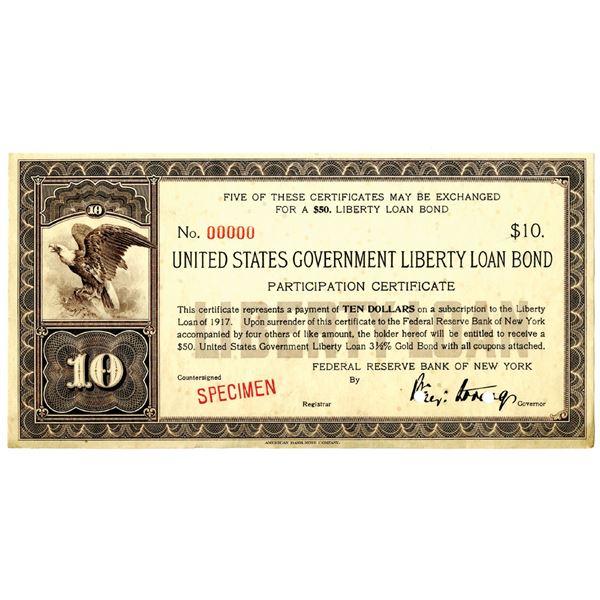 U.S. Government Liberty Loan Bond, 1917 Specimen 3 1/2% Gold bond Participation Certificates