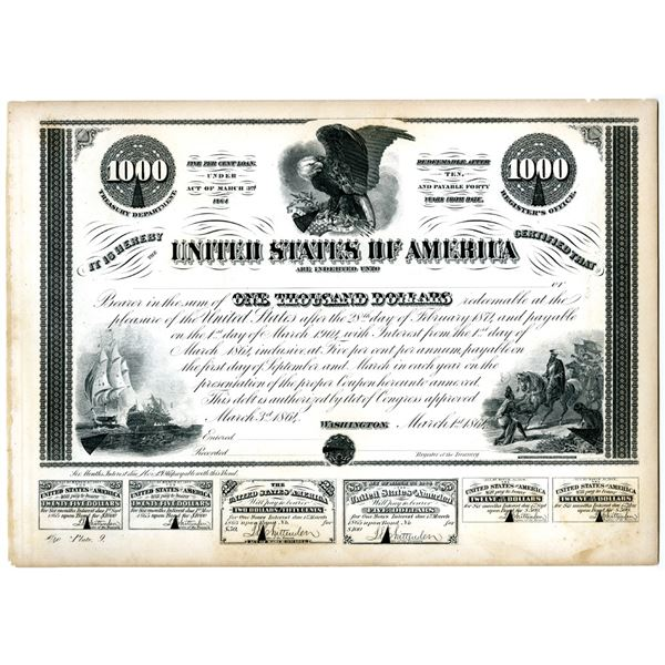 U.S.A. Treasury Department Counterfeit Detector Proof Plate of 1864 $1,000 Bond