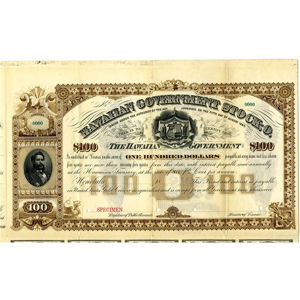 Hawaiian Government Stock 0 1882 Specimen Bond Rarity