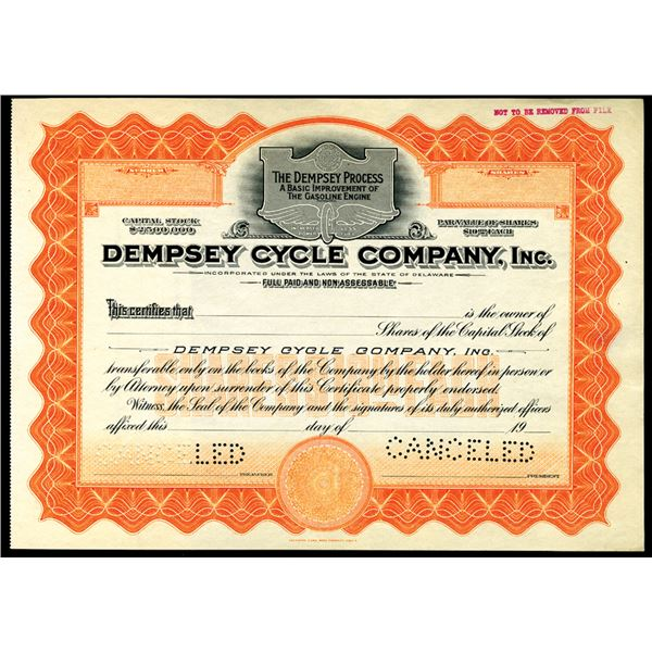 Dempsey Cycle Company, Inc., ca. 1910-20's Specimen Automobile Related Stock
