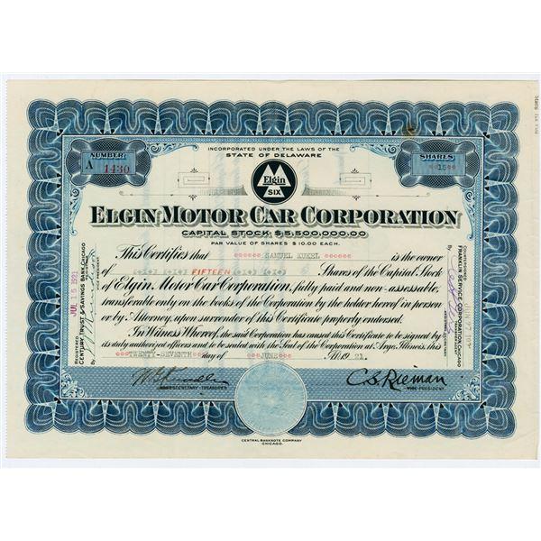 Elgin Motor Car Corp., 1921 Stock Certificate.