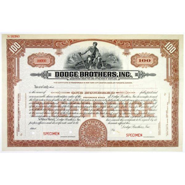 Dodge Brothers, Inc., ND (ca.1920's) Specimen Stock