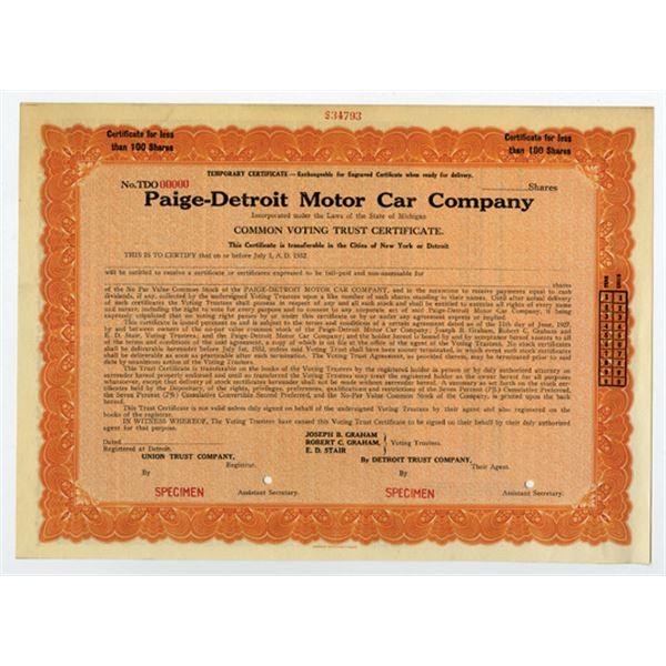 Paige-Detroit Motor Car Co. 1932 Specimen Stock Certificate