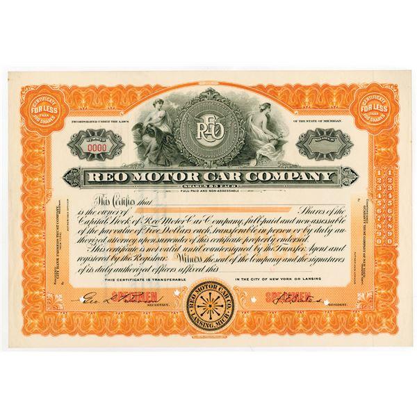 REO Motor Car Co., ca.1910-1920 Specimen Stock Certificate