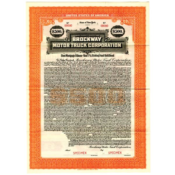 Brockway Motor Truck Corp. 1922 Specimen Bond