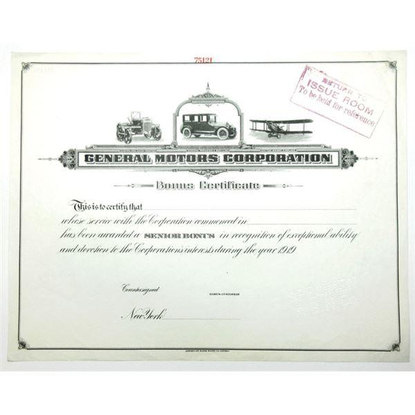General Motors Corporation ND (ca.1920's) Specimen Bonus Certificate.