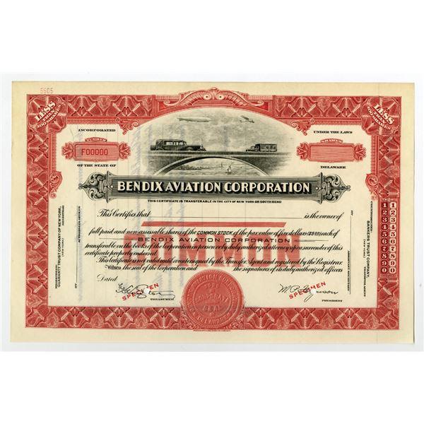 Bendix Aviation Corporation ca. 1929-32 Specimen Stock Certificate With Zeppelin.