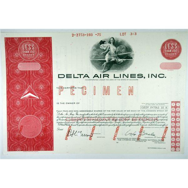 Delta Air Lines, Inc. 1975 Specimen Stock Certificate