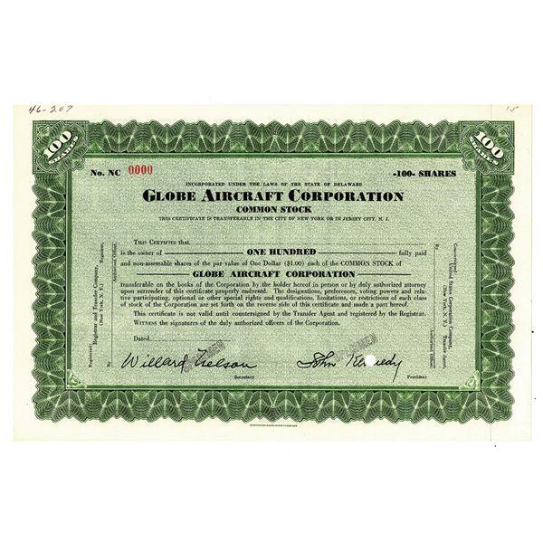 Globe Aircraft Corp., ca.1930's Specimen Stock Certificate