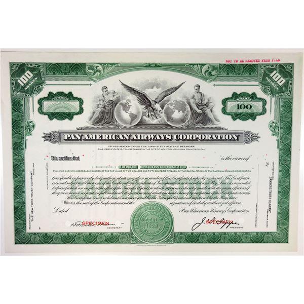 Pan American Airways Corp., 1950s Specimen Stock Certificate