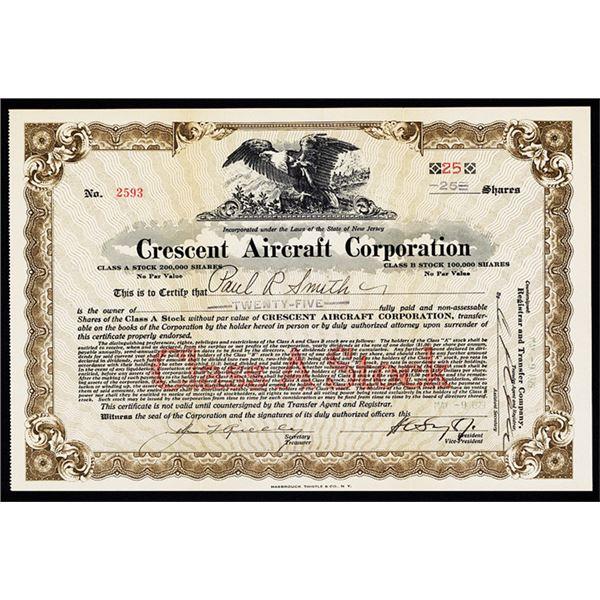 Crescent Aircraft Corp., 1929 I/U Stock Certificate.