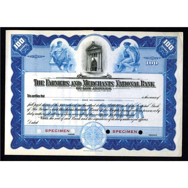 Farmers & Merchants National Bank of Los Angeles, 1903-20 Specimen Stock Certificate
