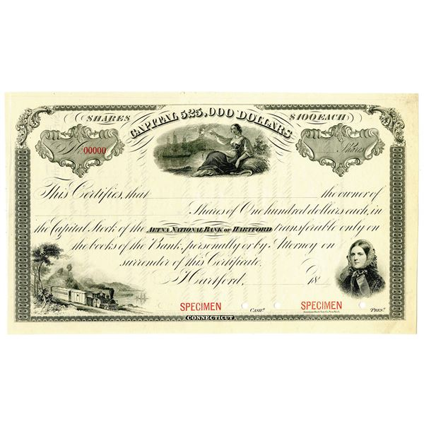 Aetna National Bank of Hartford, 1870-80's, Specimen Stock Certificate