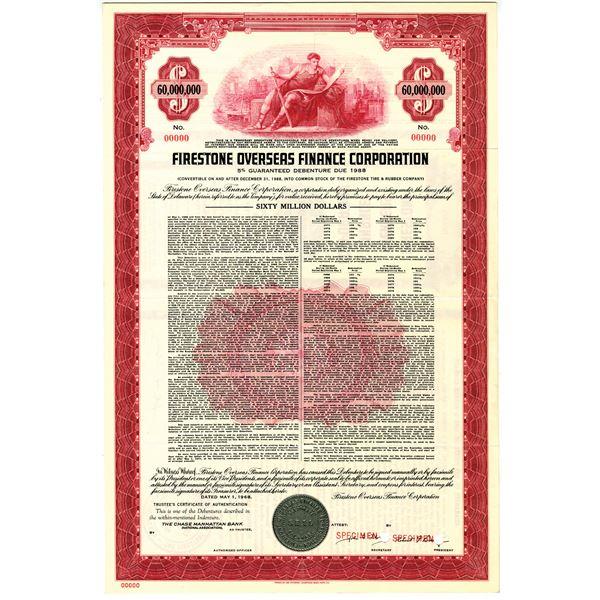 Firestone Overseas Finance Corp. 1968, $60 Million Specimen Bond