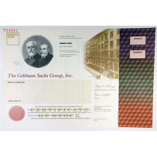 Goldman Sachs Group, Inc., 1999 I.P.O.  Specimen Stock Certificate.