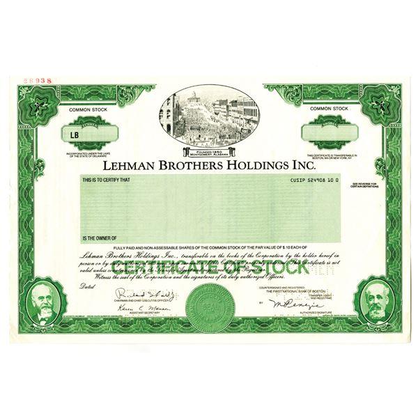 Lehman Brothers Holdings Inc. 1994 Specimen Stock Certificate