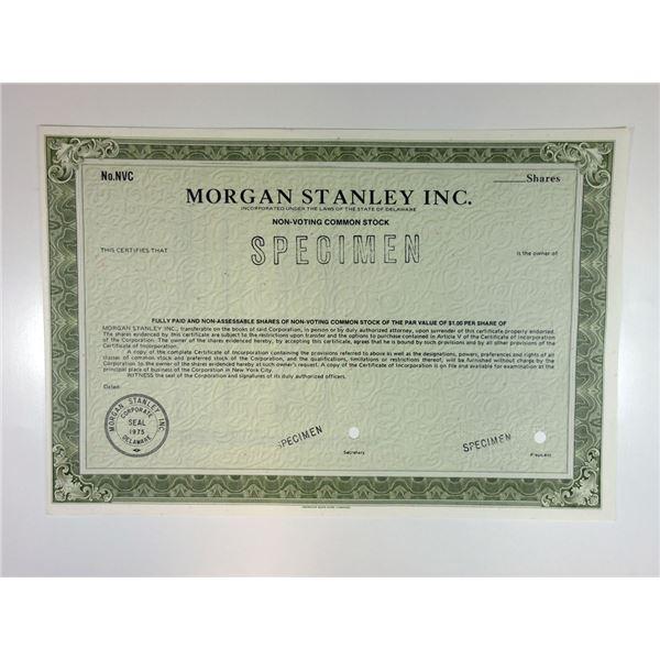 Morgan Stanley Inc. 1981 Specimen Stock Certificate