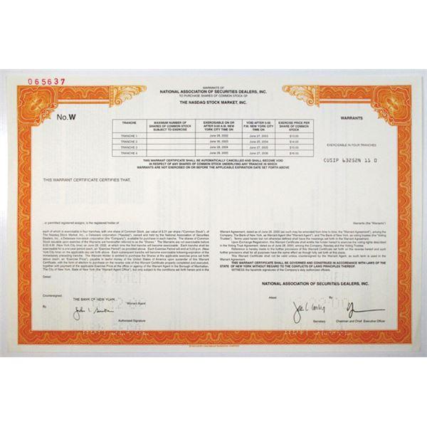 Nasdaq Stock Market, Inc. 2000 Specimen Warrant Certificate