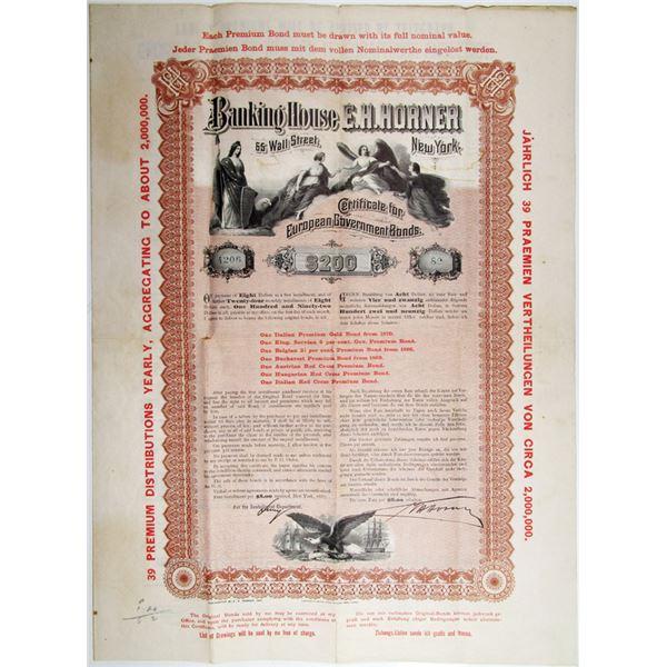 Banking House of E. H. Horner 1887 Certificate for European Bonds