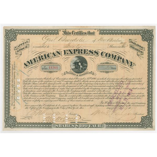 American Express Co., 1873 I/C Stock Certificate Signed by William Fargo as President.